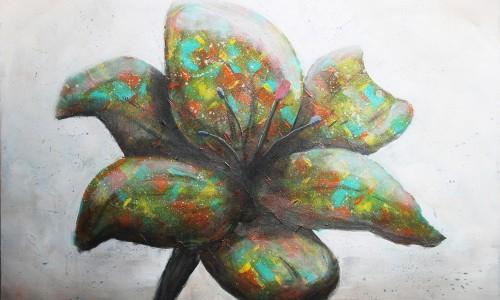 Abstract schilderij door Hans Fontijn (Sylgo) bonte bloem FLOWER