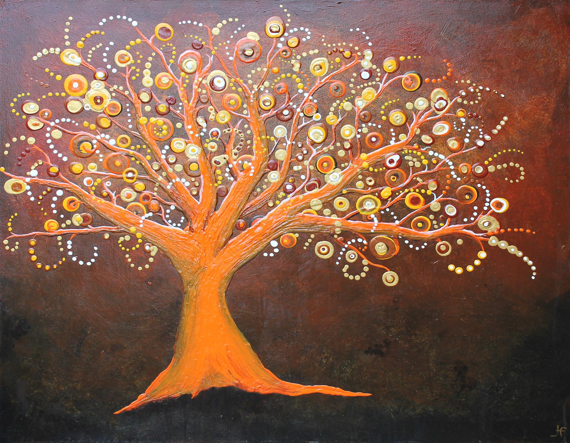 Abstract schilderij boom orange door Hans Fontijn (Sylgo) geen zorgen