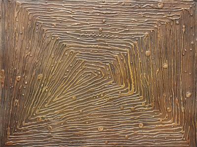 Abstract schilderij lijnen koper brass door Hans Fontijn (Sylgo) UITBREKEN