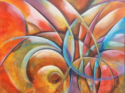 Abstract schilderij lijnen vormen kleuren door Hans Fontijn Sylgo